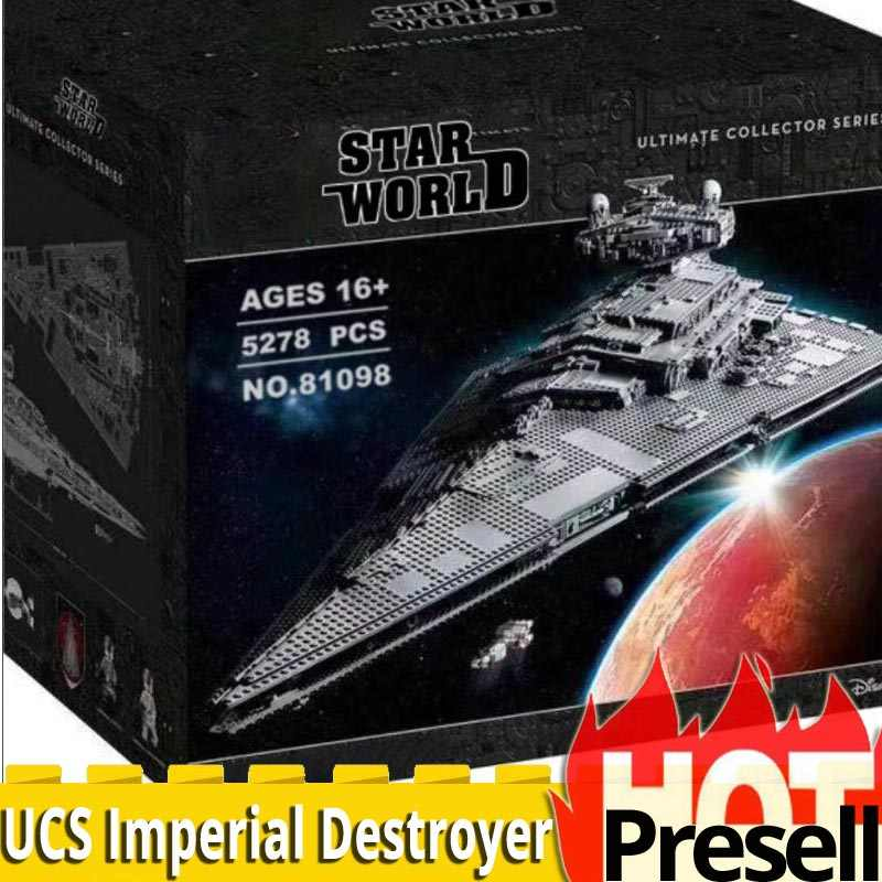 81098 Ultimate Collector Series 5278PCS Max Imperial Star Destroyer spaceship Building Blocks Brick legoinglys Star Wars 75252