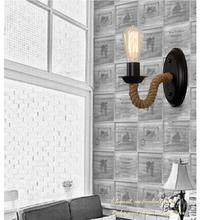 American Country Retro Hemp Rope Wall Lamp Vintage Wall Sconce Beside Living Loft Lighting Stairs Vanity Light Indoor Wall Lamps