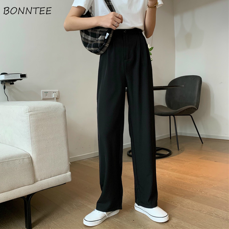 Casual Pants Women Ulzzang Chic Pure Purple Loose Office Lady Long Pant High Waist Summer Wide Leg Black Fashion Vintage Capris
