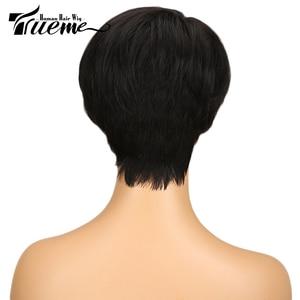 Image 3 - Truemeナチュラルダークブラウン赤ワイン色人毛 100% かつら黒人女性のためのピクシーカットフルかつらレミーブラジルの髪