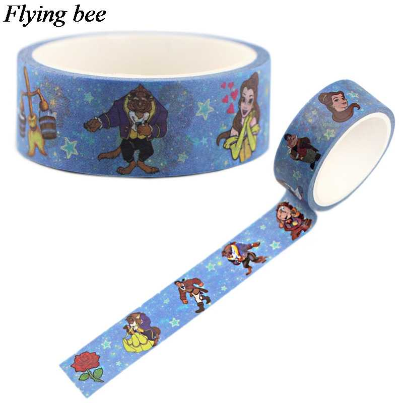 Flyingbee 15mmX5m Paper Washi Tape Beauty and the Beast Adhesive Tape DIY Scrapbooking Sticker Label Masking Tape X0554