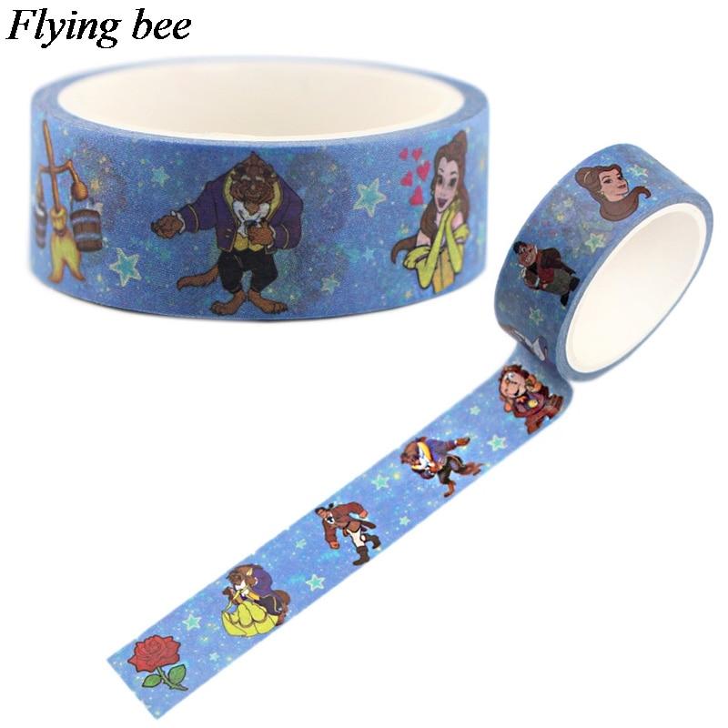 Flyingbee 15mmX5m Paper Washi Tape Creative Theme Adhesive Tape DIY Scrapbooking Sticker Label Masking Tape X0554