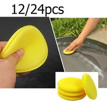 12pcs Car Wax Polish Washing Sponge Car Yellow Round Shaped Care Cleaner Auto Soft Foam Sponge Brush Car Wash Car Accessories
