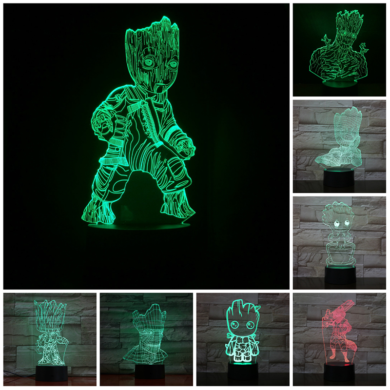 VCity 3D Movie Figure Lamp Avengers Groot Guardians Night Light 3D Led Lighting Gifts For Bot Kids Toy Bedside Lamp Lighting LED