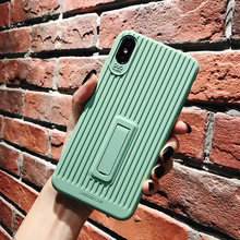 For iphone XS max XR X stripe Soft Phone Case For iphone 8plus 7 6 plus Candy Color stander cover Shell(China)
