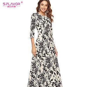 Image 3 - S.FLAVOR Women Slim Long Dress Autumn Winter Plus Size 3/4 Sleeve O Neck Floral Print Boho Maxi Dress Elegant Party Vestido