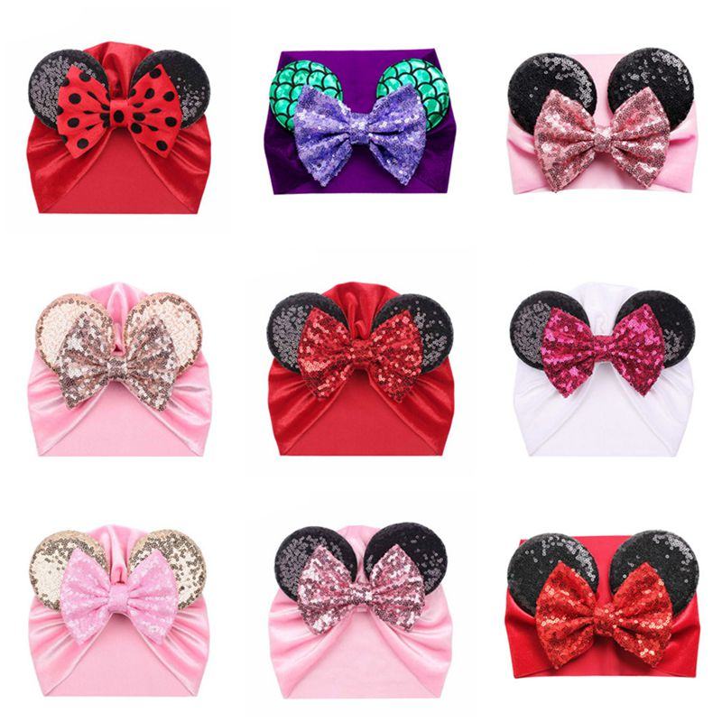 Minnie Mickey Ears Baby Headbands Soft Velvet Newborn Glitter Bowknot Red Pink Color Turban Caps Christmas Bow Baby Hats
