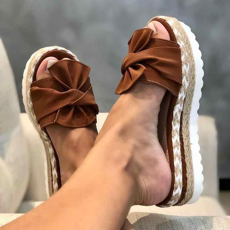 Le donne Bowknot Pantofole 2020 Estate Casual Spiaggia Focaccina Scivolare Su Sandali Delle Signore Della Piattaforma Del Partito Del Vestito Peep Toe Sandali Femminili
