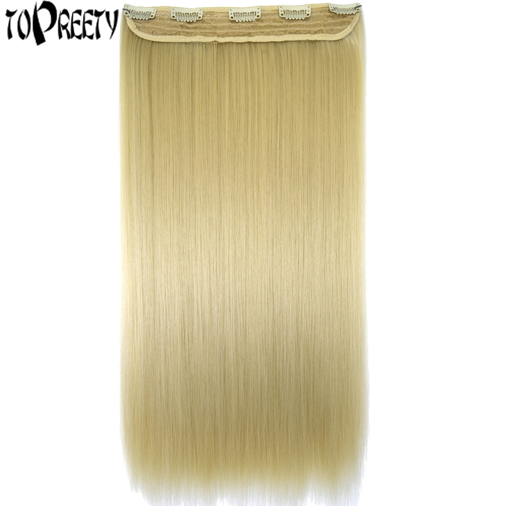 Heat Resistant Synthetic Fiber 120gr Straight 5 Clips On Clip In Hair Extensions 5006