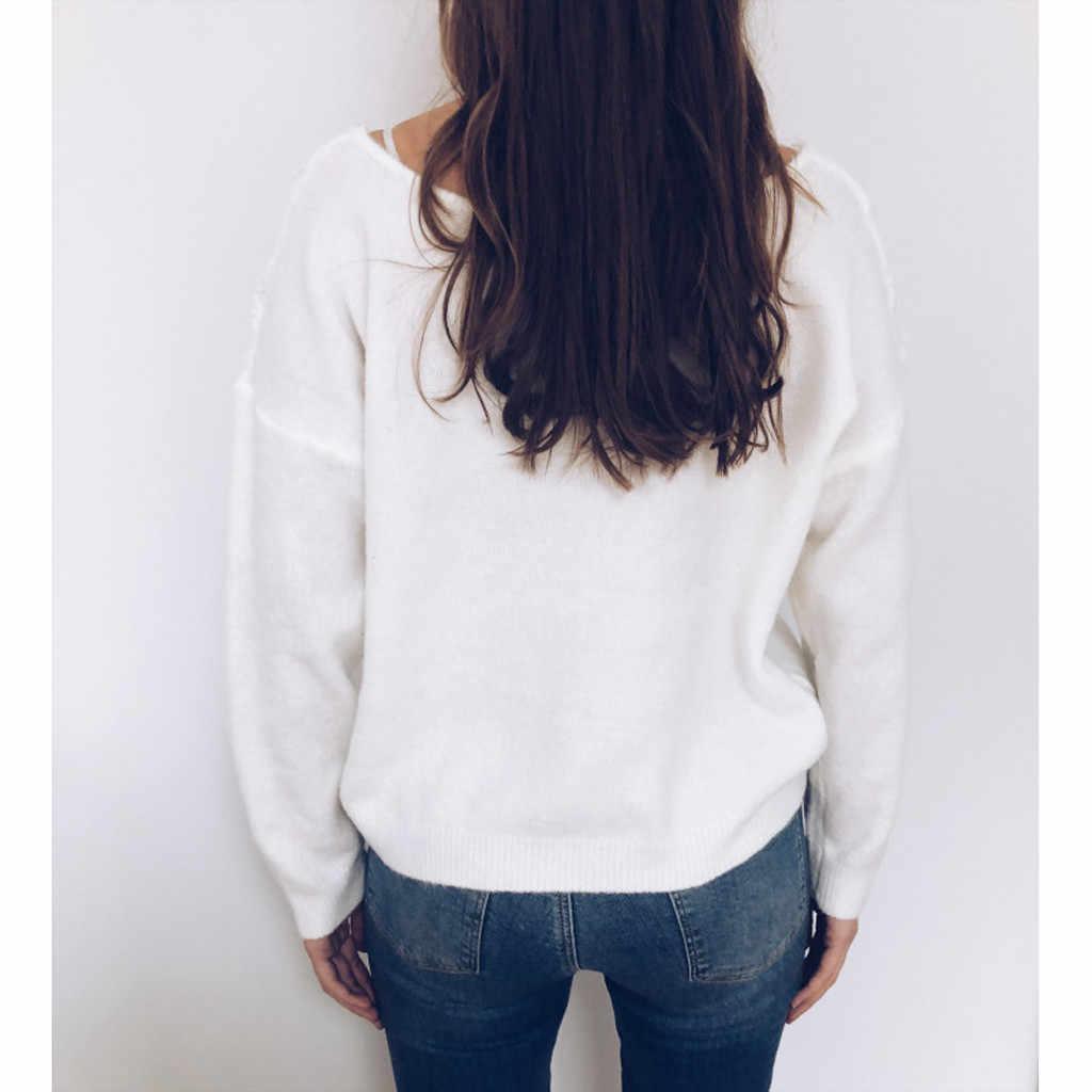 Pull d'hiver femmes à manches longues col en V dentelle Slim pull tricoté doux pulls pulls lâche chandail hiver décontracté chandails