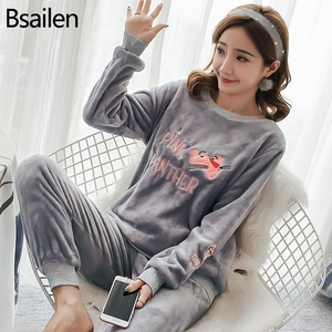 Image 1 - New Spring Winter Anti Cold Keep Warm Women Coral Fleece Pajamas Set of Sleepcoat & Lady Thermal Flannel Home Clothing Bottoms