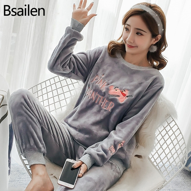 New Spring Winter Anti Cold Keep Warm Women Coral Fleece Pajamas Set of Sleepcoat & Lady Thermal Flannel Home Clothing Bottoms