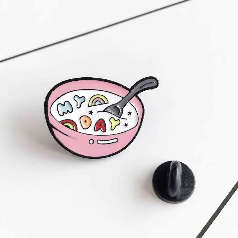 Brief Suppe Emaille Rosa Schüssel Löffel Abzeichen Brosche Rucksack Kleidung Revers Leckeres Essen Schmuck Geschenk für Freunde