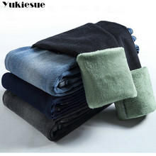 Woman Pants Denim Trousers Warm Jeans Velvet Skinny Blue Black Plus-Size for Winter Solid