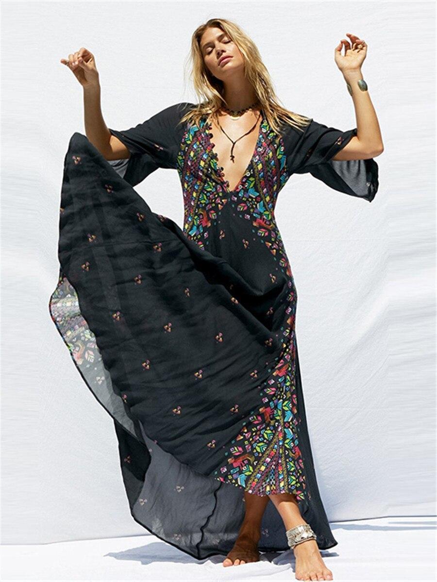 Blck longue robe de demoiselle d'honneur en mousseline de soie fête de mariage pour femme été bohème plage vacances essentiel col en v imprimé Sexy robe de bal