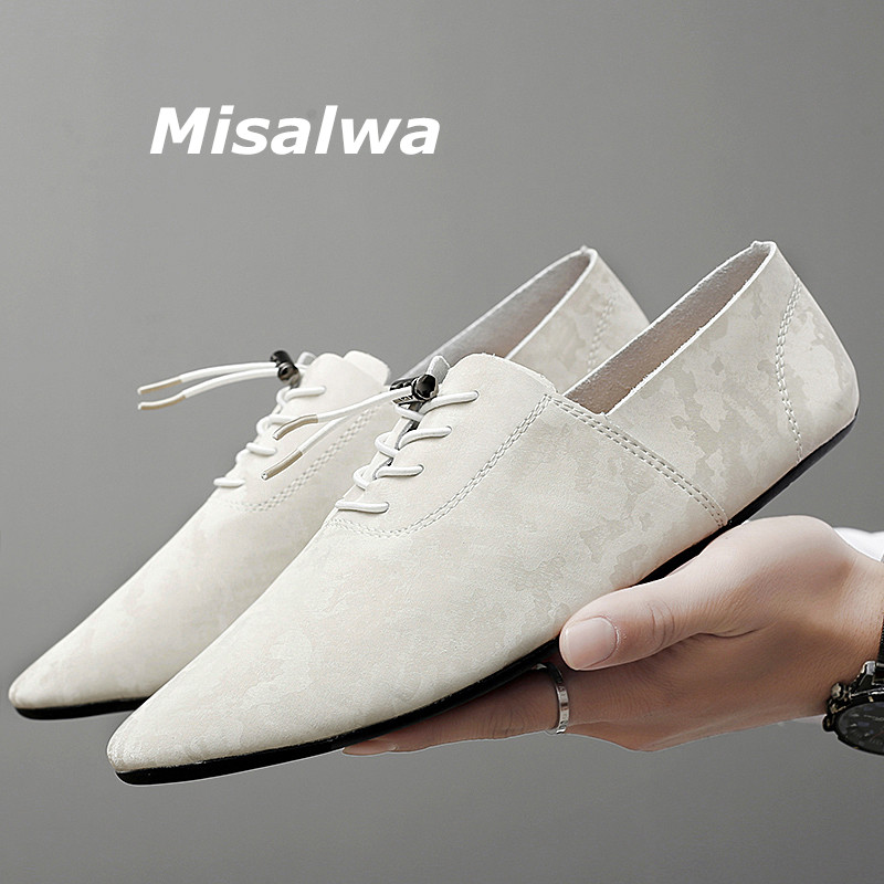 Misalwa White Silver Men Penny Loafers Moccasins Split Leather Casual Male Flats Summer Spring Driving Shoes Soft Daily 37 Size