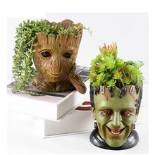 GLLead Groot maceta de resina para jardín, figuras de acción de hombre, modelo creativo de árbol, pluma de juguete, maceta para decorar el hogar