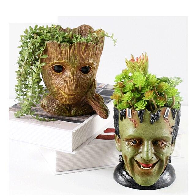 GLLead Groot الراتنج اناء للزهور لطيف زارع عمل أرقام شجرة رجل الإبداعية لعبة مجسمة القلم حديقة الزهرية تزيين المنزل