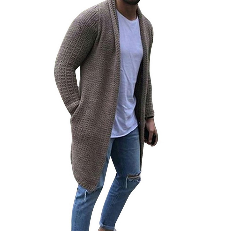 2020 New Cardigan Men Long Sleeve Midi Sweater Coat With Pocket Winter And Autumn Casual Solid Color Cardigans