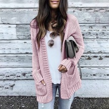 PUIMENTIUA Cardigan Women Long Sleeve Knitted Sweater Autumn Winter Sweaters Coat Mujer Invierno