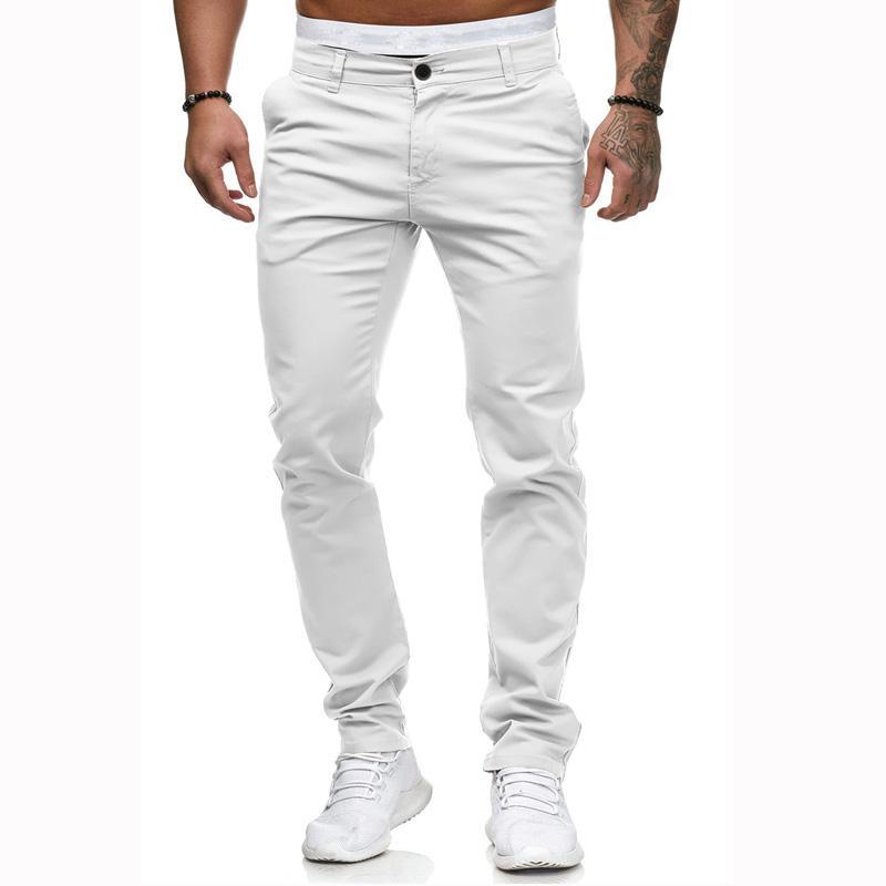 Men's Summer Cotton slim Fashion Casual Trousers 2019 New Men's Commercial Casual Pants Plus size XXL Men's solid trousers