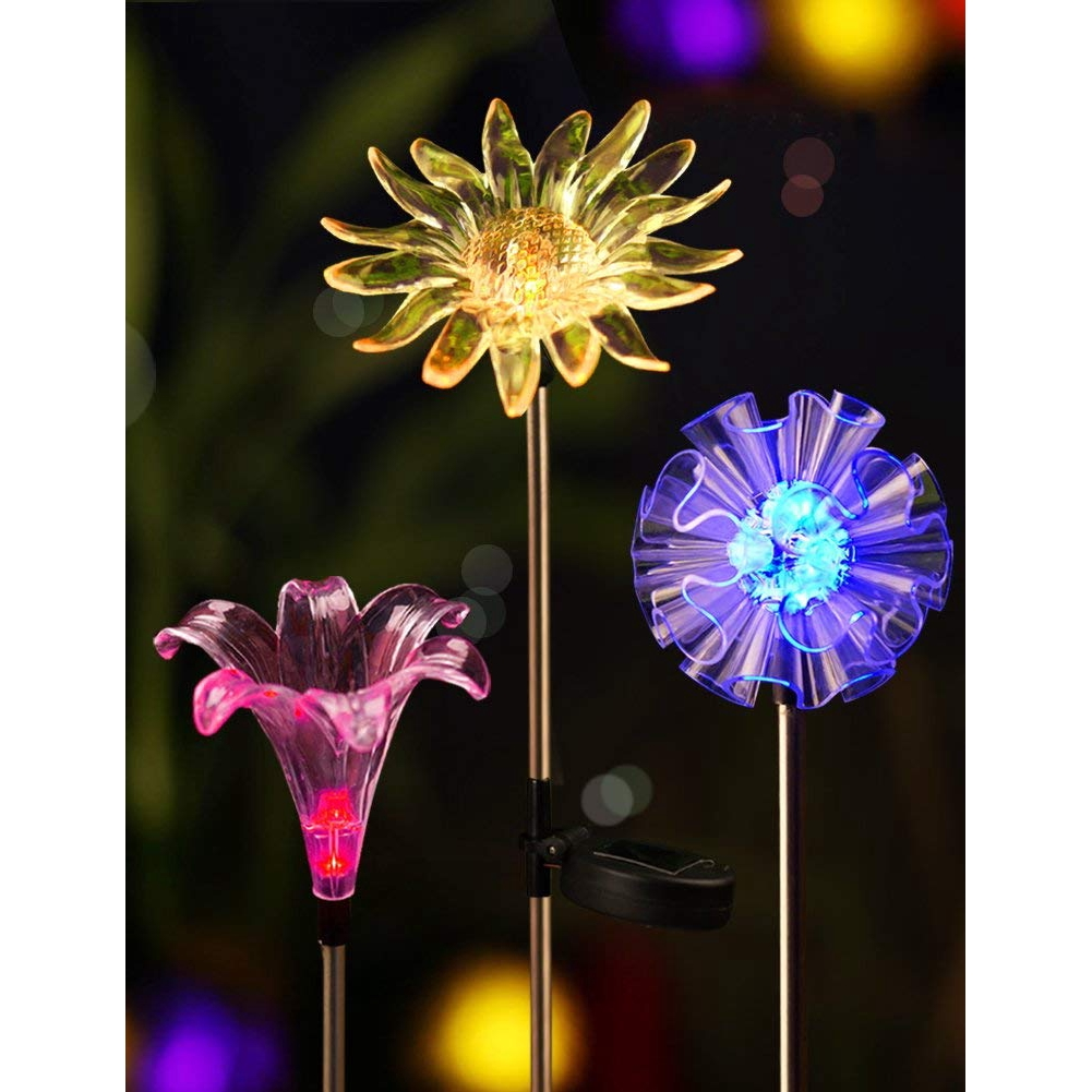 Set Of 3 Bright Solar Stake Lights Figurines LED Dandelion & Lily & Sunflower Color Changing