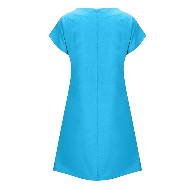 Fashion linen dress Women Plus Size Daisy Printed Short Sleeves V-Neck Casual Short Dress bayan elbise 5