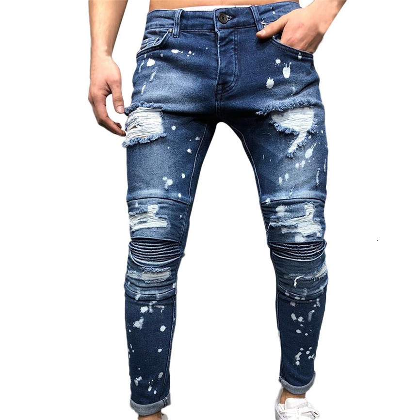 Man Pants Outdoor Men's Autumn Denim Cotton Straight Ripped Hole Trousers Distressed Jeans Pants Tracksuit Trousers For Men