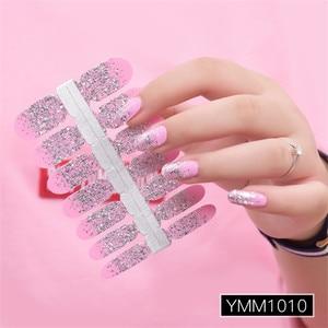 Image 5 - Brilho em pó gradiente cor adesivos de unhas envolve cobertura completa unha polonês adesivo diy auto adesivo decoração da arte do prego 29 cores