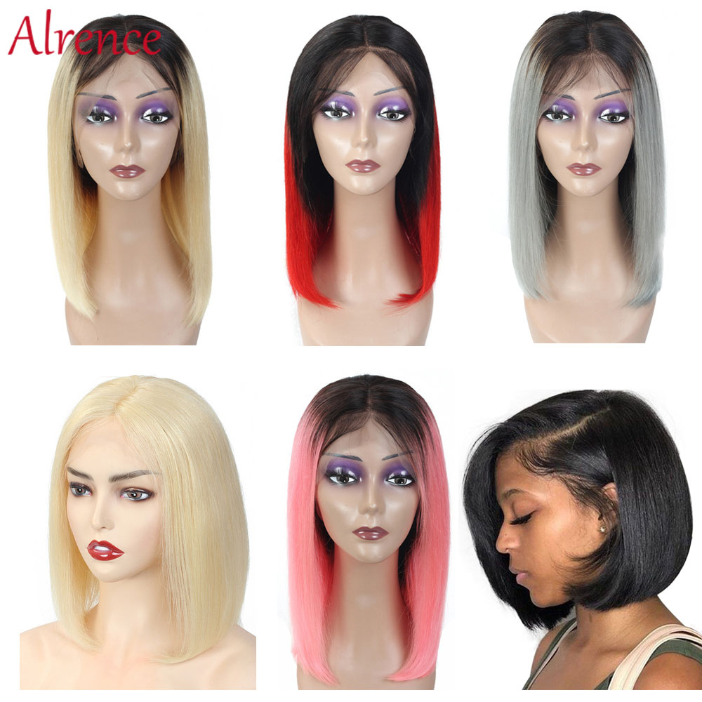 Omber 613 Lace Short Bob Wigs Peruvian Remy Hair straight lace front wig Lace Front Human Hair Wigs for women Pre-Plucked image