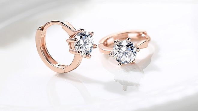 ZHOUYANG Stud Earrings For Women Classic Six Claw Clear AAA+ Shiny Zircon Rose Gold Color Fashion Jewelry For Girls KAE094 4