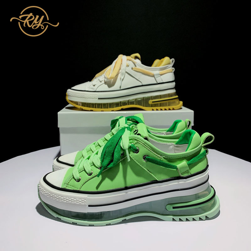 RY-RELAA Womens Sneakers Shoes 2020 Fashion Luxury Brand Genuine Leather Women Shoes INS Luxury Shoes Women Green Shoes Platform