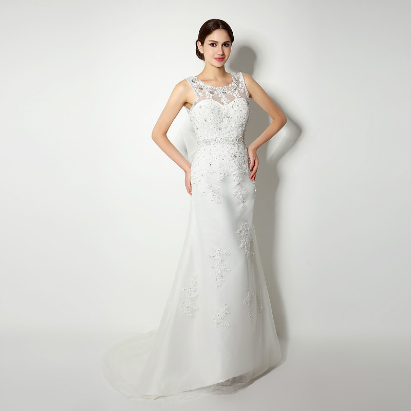 O-Neck  Bowknot Wedding Dress Sequins Applique Rhinestone Pearls  Sleeveless A-Line Open Back Floor Length Bridal Dress
