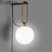 Post Modern Line Wall Lamp Minimalism Nordic Glass Ball Led Wall Sconce Light Fixtures Bathroom Bedside Mirror Lights Loft Decor