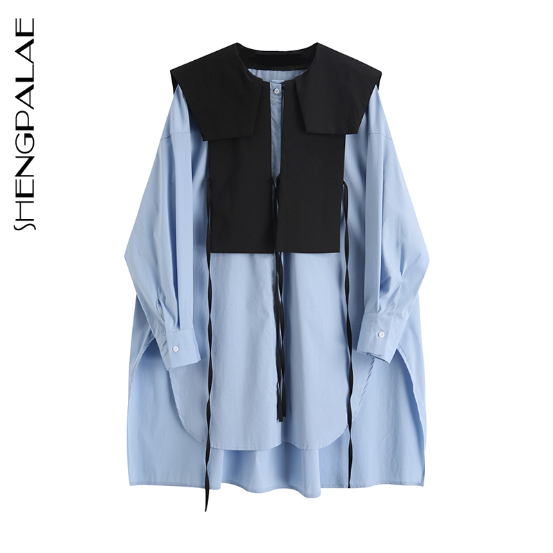 SHENGPALAE 2020 New Fashion Hit Color Splice Shirt Female Tops Long Sleeve Casual Turn-down Collar Women's Loose Blouse ZA3271