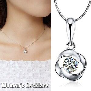 Кулон ожерелье набор серебряное покрытие вращающаяся Роза кулон ключица ожерелье ювелирные изделия магазин NYZ