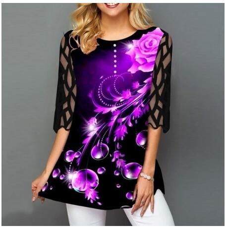 Plus Size 4xl 5XL Shirt Blouse Female 2020 Spring Summer New Tops O-neck Half Sleeve Lace Splice Print Boho Women shirt(China)