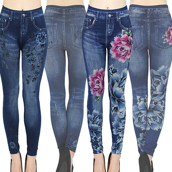Autumn Women Thermal Leggings Ladies Fleece Faux Denim Seamless Leggings Pants Floral Print Sexy Full Plus Size Pants Streetwear 1