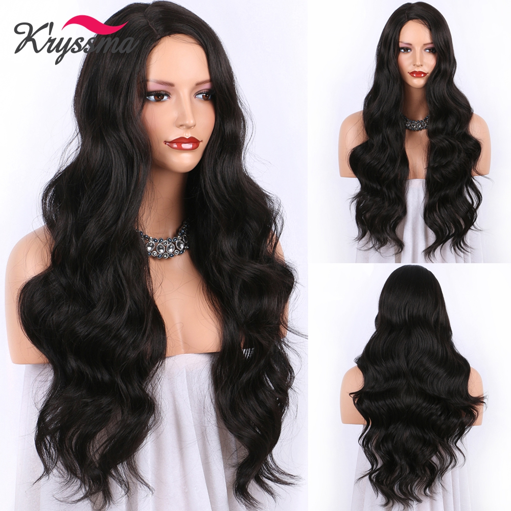 Kryssma Black Dark Brown Wigs Long Wavy Synthetic Wigs For Women Ombre Burgundy Cosplay Wigs Natural Color Wig Heat Fiber Hair Synthetic None-Lace  Wigs    - AliExpress