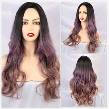 Blonde Unicorn Synthetic Wigs Long Natural Wave Ombre Purple Dark Roots Middle