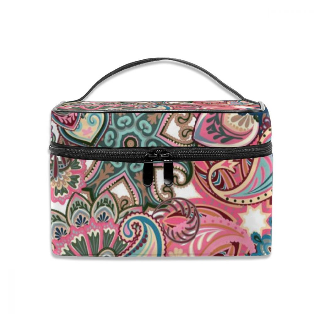 NOISYDESIGNS Outdoor Women Cosmetic Bag Wash Toiletry Vintage Floral Pattern Indian Make Up Organizer Storage Travel Kit Bags
