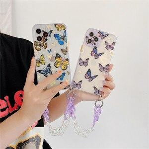 Image 1 - Custodie per telefoni con bracciale a farfalla sfumata per iphone 12 11 Pro XS Max X XR 7 8 Plus SE Mini Hand Chain Soft TPU Cover posteriore