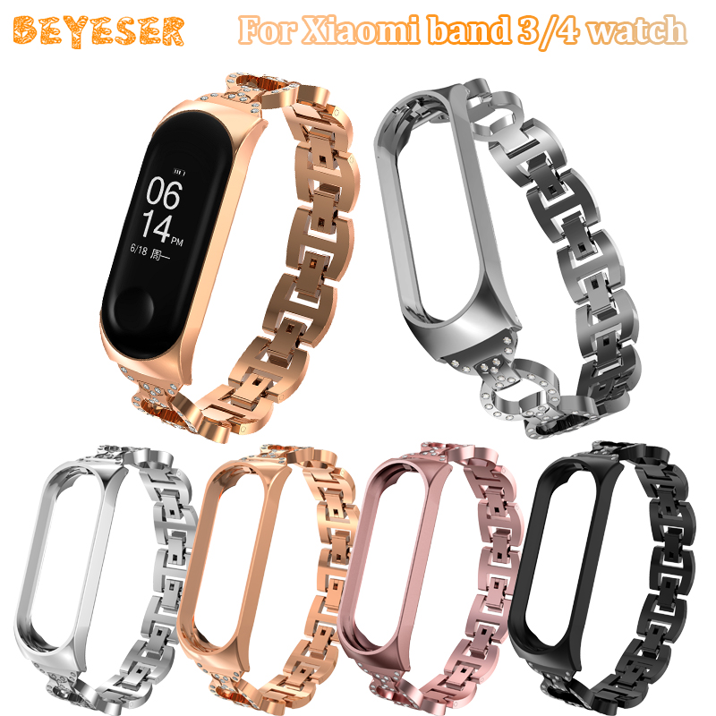 Rhinestone Metal Women's Bracelet For Xiaomi Mi Band 3 4 Watches Band Watch Strap Replacement For Miband 3 4 Wristband