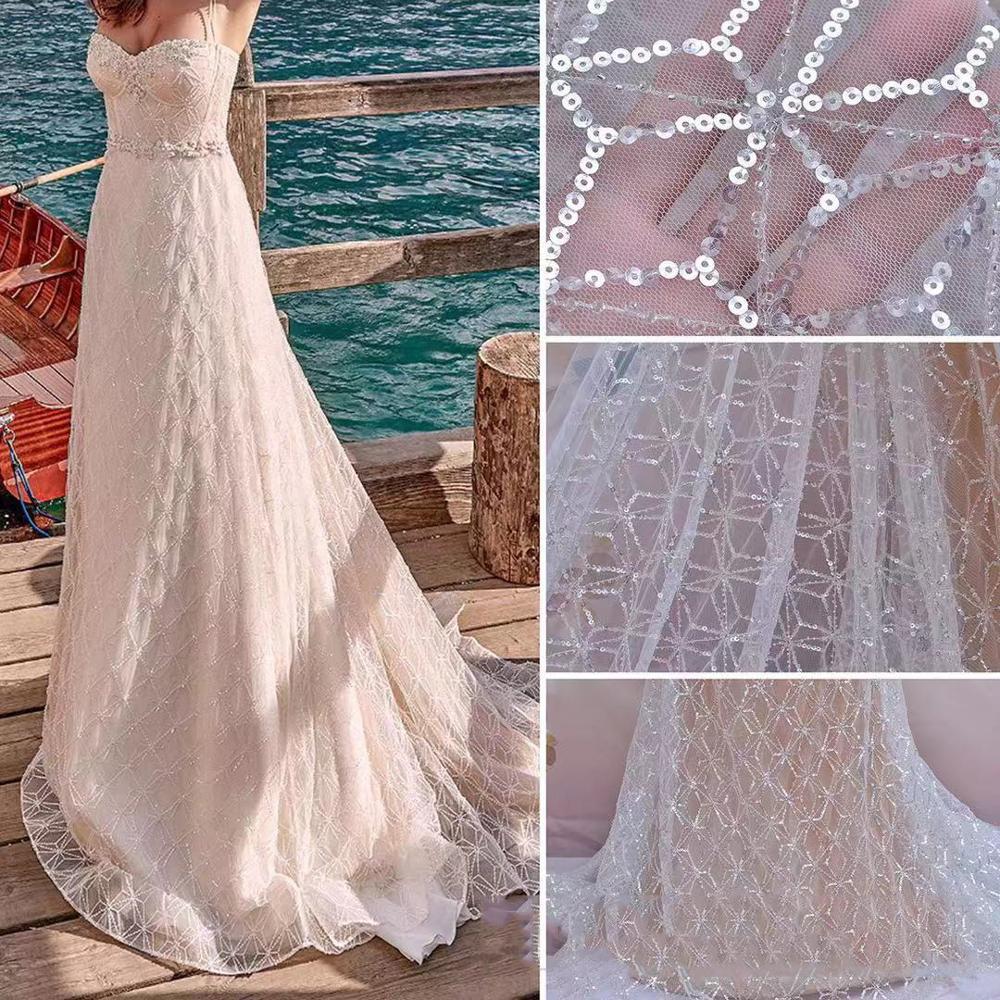 1 Yard Off White Spider web perles paillettes dentelle tissu, haute qualité ivoire mariée robe perlée robe de mariée français dentelle tissu