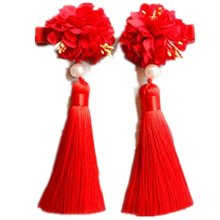 Дети% 27 клетчатый головной убор суд шпилька ретро китайский стиль волосы мяч волосы аксессуары женщина принцесса голова цветок