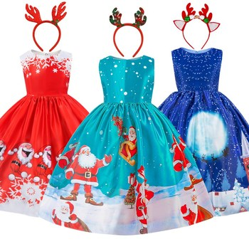 Детское платье-пачка с круглым вырезом, с мультяшным Санта-Клаусом