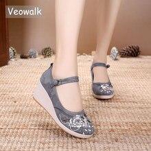 Veowalk 7Cm kama kadın jakarlı pamuklu işlemeli yüksek topuk ayakkabı Vintage bayanlar Casual pompaları ayak bileği kayışı çin Hanfu ayakkabı