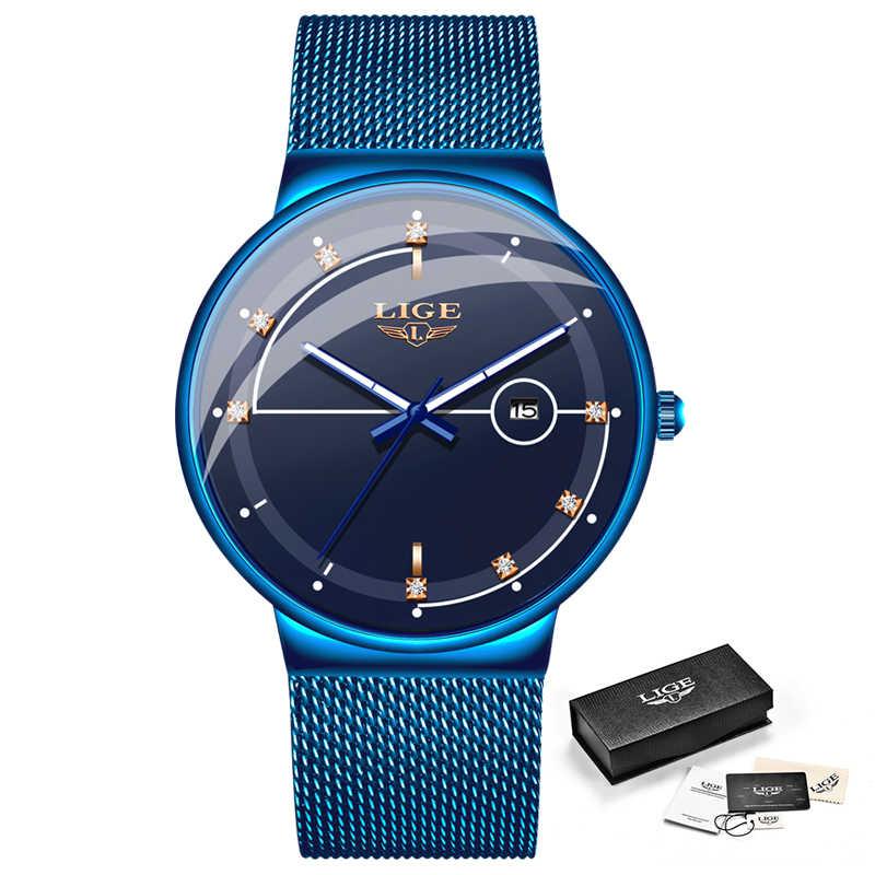 新ブルークォーツ時計 LIGE メンズ腕時計トップブランドの高級時計男性シンプルすべてスチール防水腕時計リロイ hombre