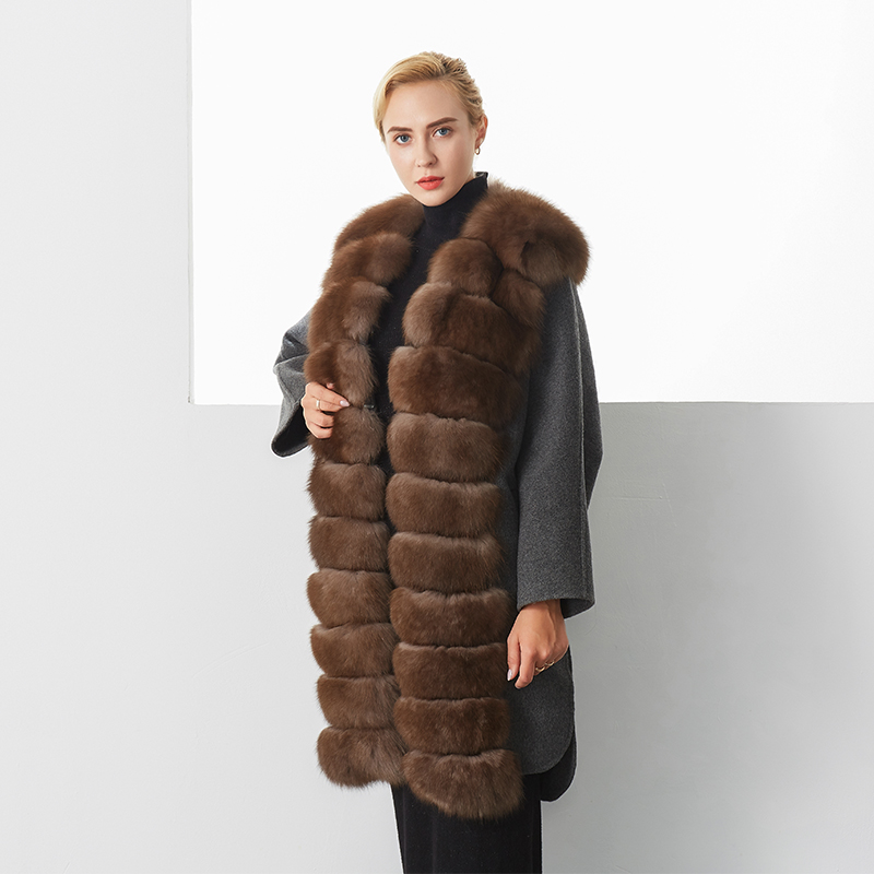 New Trendy Winter Coat Women Luxury Brown Color Elegant Casual Warm Long Section Real Fox Fur Coat Female Plus Size