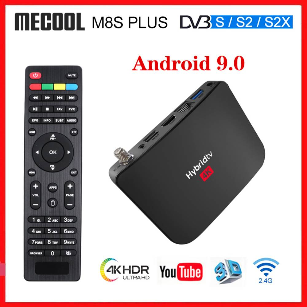 Mecool M8S PLUS S2 Hybrid TV Box Android 9.0 DVB-S2 Satellite Receiver Amlogic S905X2 Quad Core PVR Recording Live Channel
